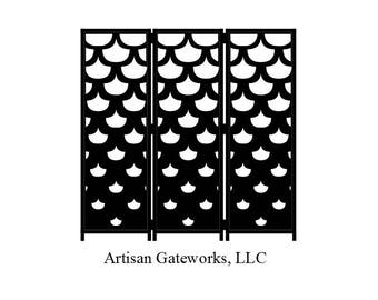 Modern Steel Room Divider - Fish Scale - Decorative Steel Privacy Screen - Privacy Wall - Custom Room Divider - Handmade