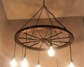 Wagon Wheel Chandelier W/ Random Height Edison Bulbs