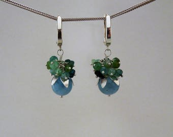 Silver, green Tourmaline  and aquamarine cluster earrings