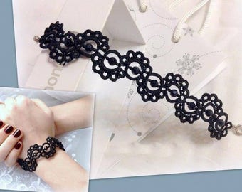 Bracelet, Jewellery, Women Accessories ,Gift, Tatting Bracelet, Tatting, Stones,Original Colections, Black Bracelet, accessory, Black Stones