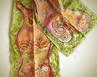 Silk scarf, shawl, scarves, woman scarf, Gift for her, Gift for women, scarf for women, paint scarf ,beautiful scarf
