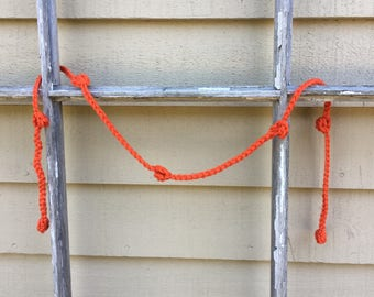 Crochet Garland in Tomato Red    3 Ft.    Party Decor    Home Decor