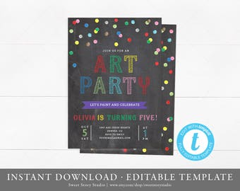 Instant Download | Art Party Birthday Invitation Card  | Editable, Printable | Art Birthday Invitation, Paint Party