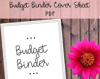 Budget Binder Cover Sheet Printable - Instant Download, Family Binder, Budget Binder, Organize