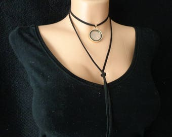 Black Choker Necklace/ Long Leather Necklace / Women Necklace/ Black Women Necklace/ Punk Choker Collar/ Black Choker/ Women Gift/ Chokers