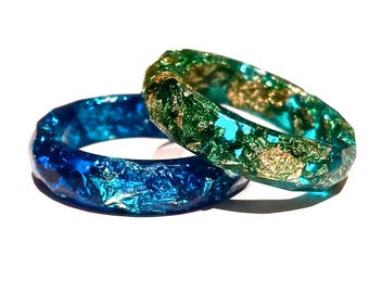 Rings in resin | Blue rings with gold & silver | Faceted ring | ANNEAU résine | Bijoux résine | Handmade ring | Friendship rings | Resin ring |