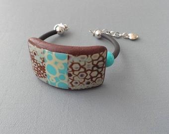 Chocolate and blue bracelet