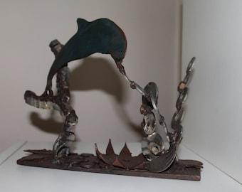 metal art dolphin paradise