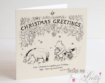 Winnie the Pooh Christmas Card - Girlfriend wife husband boyfriend friend sentiment