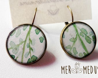 Resin cabochon earrings. Set up a hand-painted watercolor