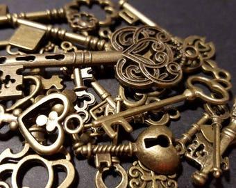 25 Vintage Antiqued Bronze Keys