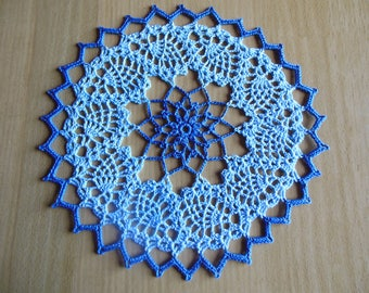 Crochet doily round color sky and blue