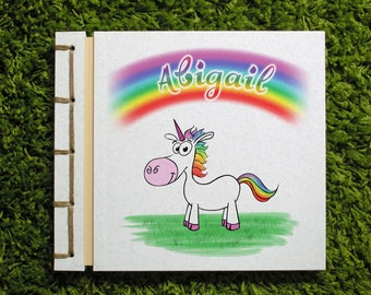 Personalized Kid's Photo Album Handmade Scrapbook, Birthday Girl, Cute Cartoon Drawing, Rainbow Unicorn