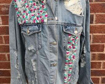 Handmade embellished denim jacket