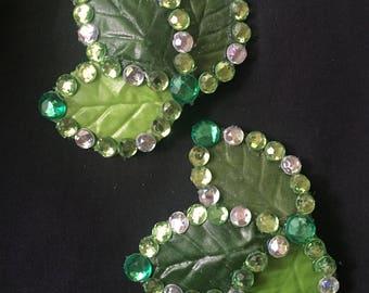 Green Leaf Burlesque Rhinestone Pasties - Sparkle!