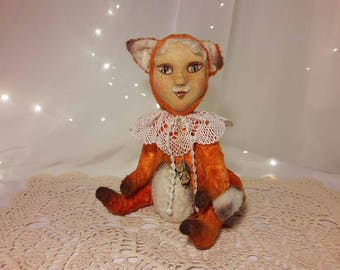 Handmade Teddydoll Fox Collectible toy Fox Teddy Fox handmade Interior doll Fox Teddy Fox Handmade Teddydoll Fox