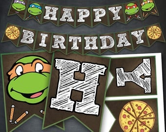 TMNT Banner, TMNT Birthday Banner, TMNT Party, tmnt Printable, Teenage Mutant Ninja Turtles Banner, Ninja Turtles, Digital, Instant Download