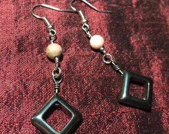 Rhodonite Hematite Earrings