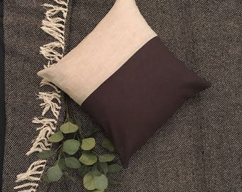 Grey and Blue Linen Cushion Cover