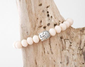 BALANCES beige nude pink faceted beads and silver metal (BRP21AG) Buddha Bead Bracelet