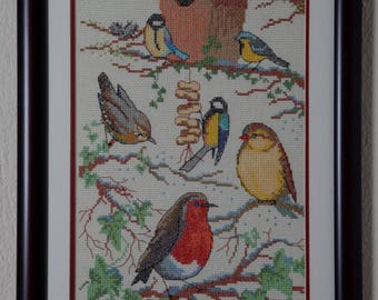 Framed Needle Work Wall Decor Picture 40x63 cm  Birds Motif