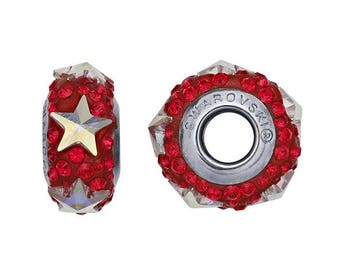 Swarovski® Red Crystals Stainless Steel 14.7mm Silver Star Roundel Bead Charm