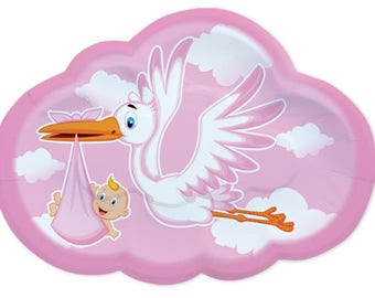 Stork pink dishes, baby shower, welcome