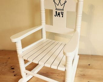 Children's Small Rocking Chair Personalised With Child's Name From Powell Craft