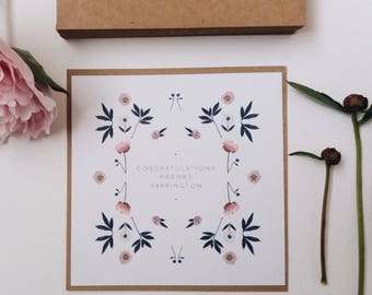 Personalised Congratulations Card    Handmade Wedding Card Congratulations, Engagement Card, Wedding Card, On Your Wedding Day