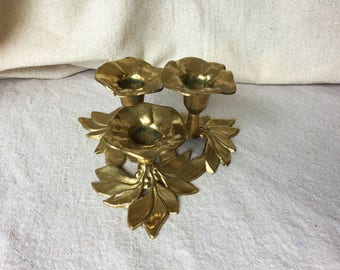 Vintage Brass Candlestick Holder, Hollywood Rengency, Flower Shaped Candleholder