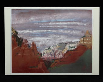 Sedona, Arizona Red Rocks Art Note Card from Southwest Pastel Painting by Karlene Voepel