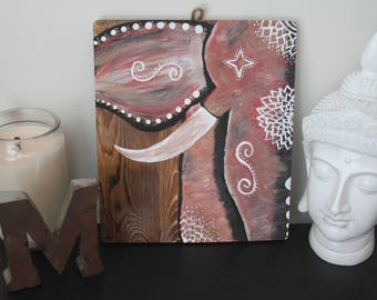 Boho Elephant Painting on Rustic Barnwood *Hand-Painted*