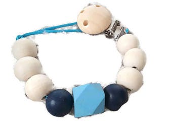 Attach pacifier or baby Soother in raw wood and painted - blue, turquoise and beige - natural wooden clip