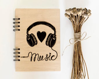 Music notebook Wooden notebook Wood journal Travel journal Engraved notebook Custom journal Sketchbook Laser engraved journal