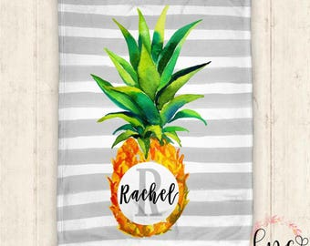 Personalized Baby Blanket - Personalized Pineapple Blanket - Personalized Blanket - Pineapple