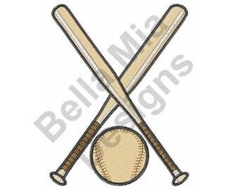 Baseball And Bats - Machine Embroidery Design