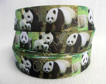 "SALE Panda Bears Black and White on 1"" Grosgrain Ribbon by the yard. Choose 3/5/10 yards."