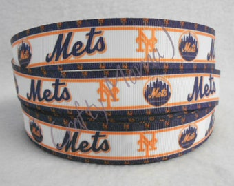 "New York Mets Baseball 7/8"" Grosgrain Ribbon by the yard. Choose 3/5/10 yards."