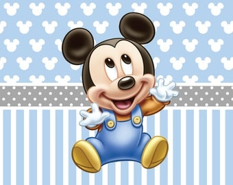 PRINTED Baby Mickey Mouse Birthday Party Backdrop - Mickey Mouse Birthday Party Background - Baby Mickey Party Decoration - First Brithday