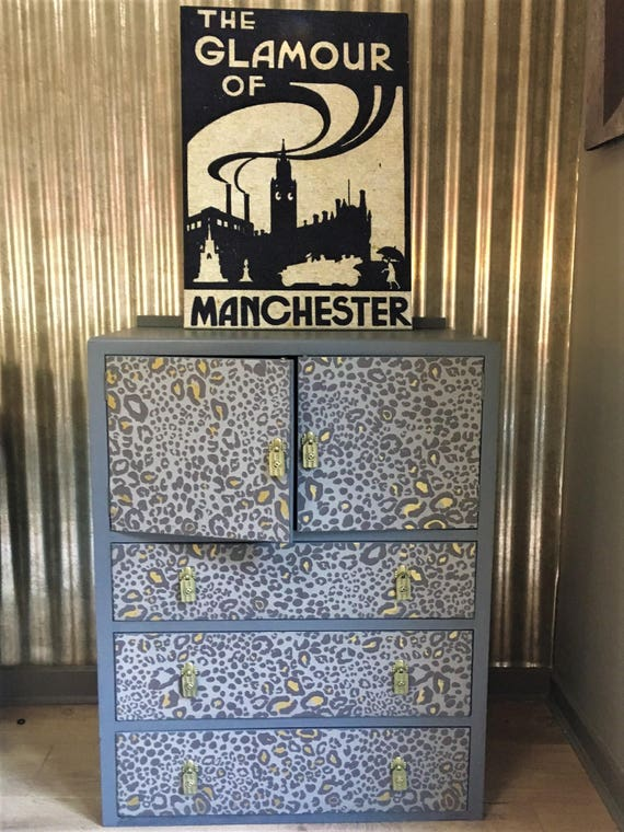 SOLD! Fabulous vintage cabinet up-cycled in Farrow & Ball Leopard print