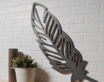 Detailed Feather Wood Cut Out Wall Art Home Decor