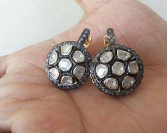 Victorian style 3. 80 ctw rose cut diamonds and uncut polki diamonds sterling silver Statement Wedding earrings danglers
