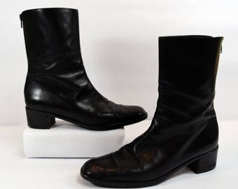 Cole Haan Vintage 80s Black Leather Rear Zip Ankle Boots Size 10AA Narrow Made in Italy