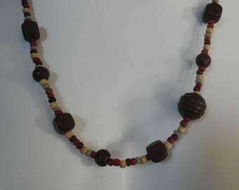 Wooden beads and seed beads necklace