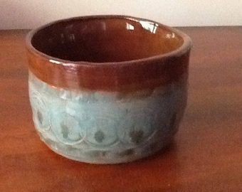 """Red earthenware small cup 3 1/2"""" diameter, 2 1/2"""" tall"""