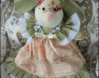 Handmade Victorian Bunny Doll in Ruffle Dress