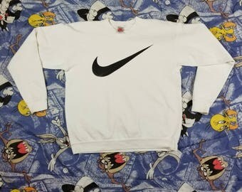 Vintage 90s NIKE Gray Tag Big Swoosh Logo Sweatshirt Jumper Pullover Size Large
