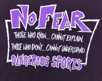 Vintage 90s NO FEAR T Shirt Dangerous Sports