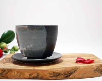 Hand thrown Tea cup with saucer, Coffee cup, Handmade teacup