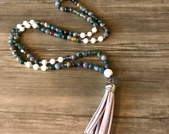 Mixed Jasper Mala with Leather Tassel